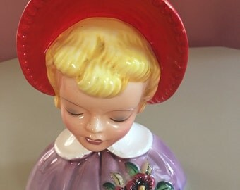 Mid Century Head Vase / Girl with Bonnet Planter