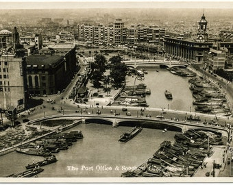 Vintage Postcard, Digital Download, Antique Postcard, 1930's, The Post Office and Soochow Creek, Shanghai, China, Digital Download