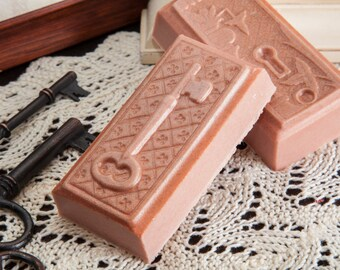 Lock or Key+Frankincense and Myrrh Oil+All Natural Oatmeal and Shea Butter+4.25 oz.+Artisan Bar Soap