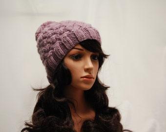 Purple Winter Hat, Handmade Wool Hat