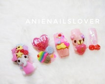 Candy yum yum  >>sweet nails,kawaii nails ,nail art ,nail 3d ,fake nails,acrylic nails,deco,cartoon nails,teddy,bear,teddy bear nails