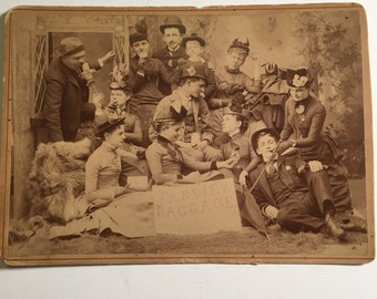 Amazing Group Cabinet Card - Fairview Baggage, Early 20th Century Mounted Sepia Photograph