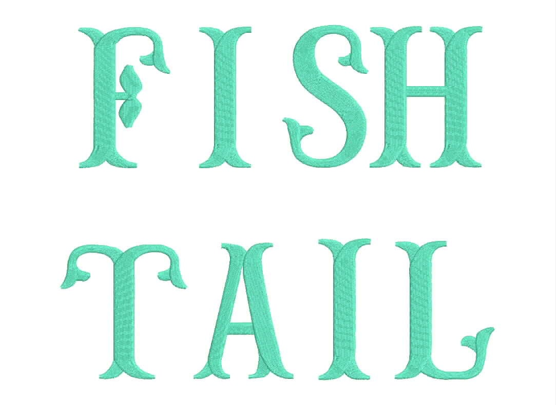 Sale size large fish tail embroidery font