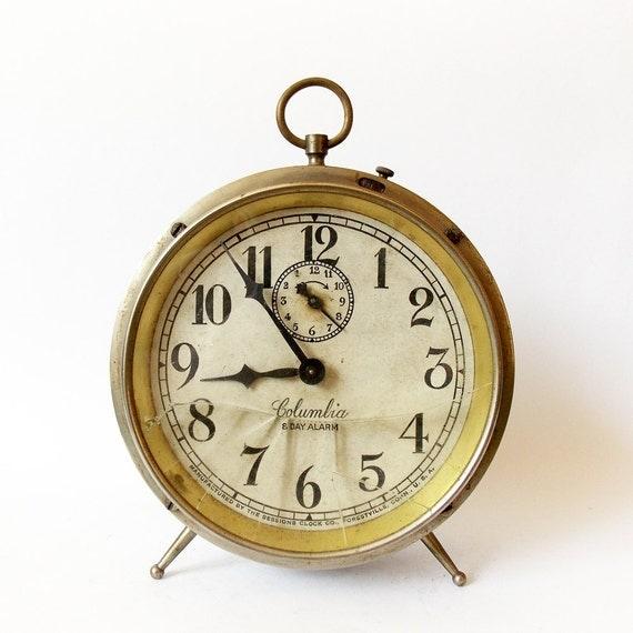 Antique Columbia 8 Day 1910s Alarm clock Desk Table Chrome