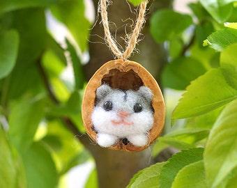 needle felted hamter, Hamster in a Walnut, Needle Felted Ornament, needle felted animal