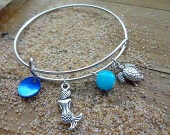 Mermaid & Turtle Beach Charm Adjustable Bracelet