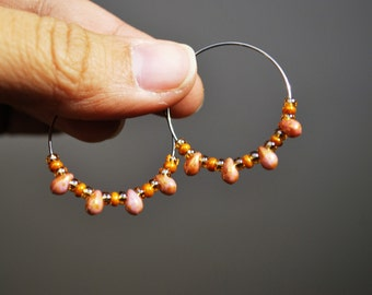 Pink and Bronze Hoop Earrings