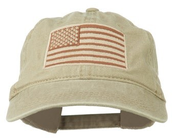 Tan American Flag Embroidered Washed Cap