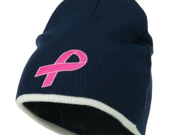 Hot Pink Breast Cancer Embroidered Short Trim Beanie