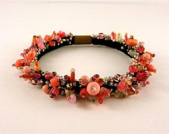 Pink Melange- Beaded soft bracelet