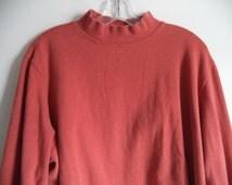 90's mock top// Oversized boxy geek hipster turtleneck// Rust orange cozy sweatshirt// Vintage Croft &  Barrow// Women's size S M L XL XXL