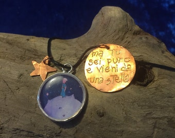 Little Prince resin and copper pendant