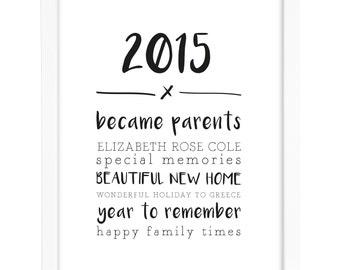 Personalised 2015 Year Memory Print - Wall Art