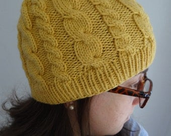 Yellow knitted warm cable hat / winter, stretchy, woman, wool