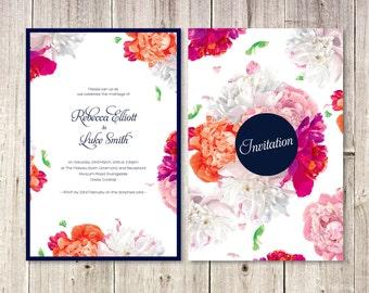 Pink Orange Wedding Invitations Etsy UK