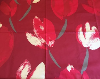 Red Tablecloth with gold tulip  flower