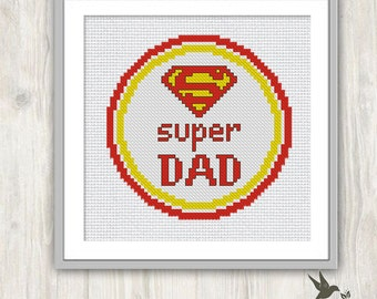 Super Dad cross stitch pattern, Fathers Day gift, Father cross stitch pattern, Dad cross stitch pattern, present for dad, gift, needlecraft