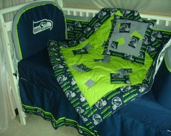 Seattle Seahawks Custom Made 8 pc (or made bumperless or in pink) nursery baby crib bedding set mw NFL Seattle Seahawks fabric NEW