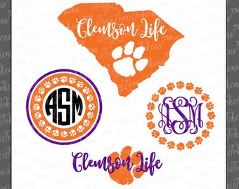 Clemson Life Paw SVG Design for Silhouette and other craft cutters (.svg/.dxf/.eps/.pdf)