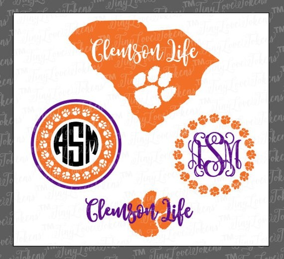 SVG for Paw Design Silhouette Life and Clemson craft other