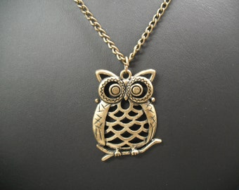 Gem vintage, necklace, pendant, Necklace, for, representing an OWL No. 0672