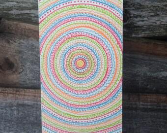 Multi coloured mandala greeting card