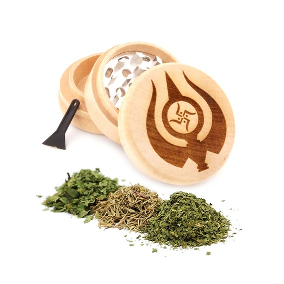 Swastik Engraved Premium Natural Wooden Grinder Item # PW91316-7