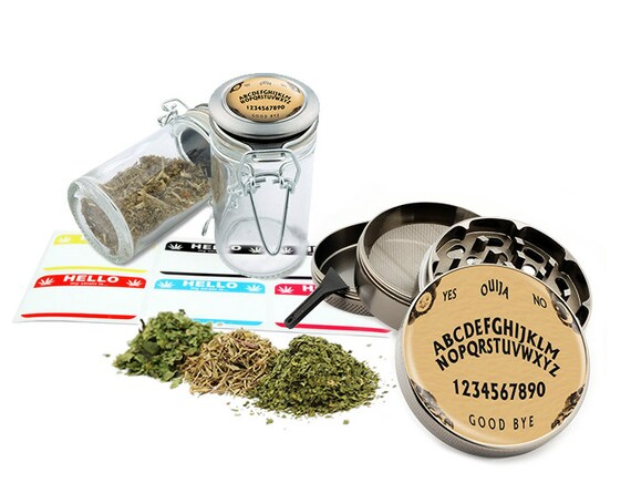 "Fashion Ouija - 2.5"" Zinc Alloy Grinder & 75ml Locking Top Glass Jar Combo Gift Set Item # G50-102215-5"