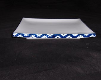 Vintage Ceramic Blue and White Sushi Plate