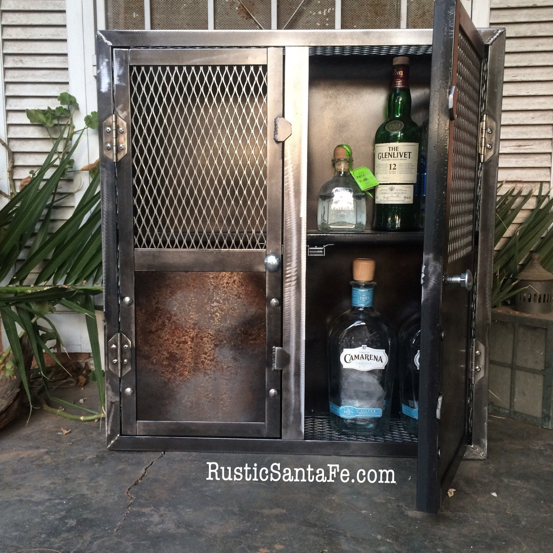 Industrial Hand Made Liquor Cabinet, Rustic Wine Rack, Home Bar Decor,  Custom Liquor Storage