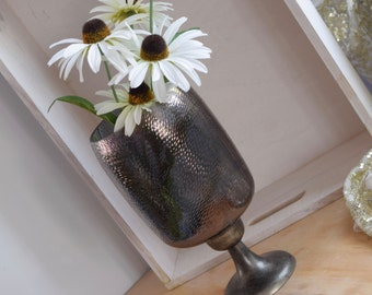 Iridescent cut glass, footed dried flower vase or candle holder