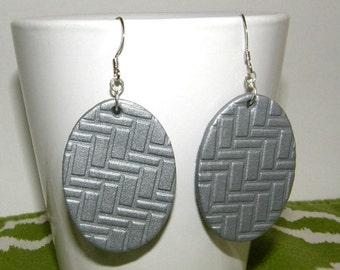 Handmade Silver Polymer Clay Earrings (Geometric pattern)
