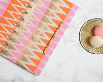 Pink, Orange & Gold Gift Bag with Rhinestone Embellishment