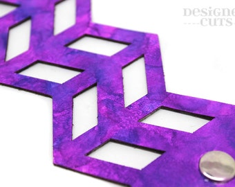 Laser cut leather cuff bracelet - Bright purple and pink  geometric design