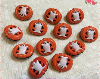 2 Buttons Set/Halloween Buttons/Pumpkin Buttons/Crafts Button/Sewing Buttons/Halloween Buttons 22 mm./2 Buttons Pack