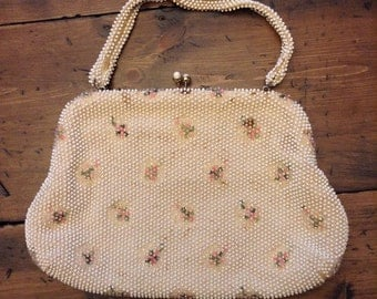 White Floral Beaded Purse Clutch Corde Bead by Lumured 60s (A455)