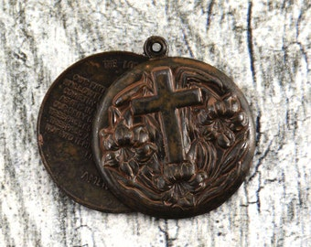 Lord's Prayer Locket, Religious Medal, Cross Pendant, Rustic Pendant, Religious Pendant, Rustic Necklace, Keychain, Gift for Him, Communion