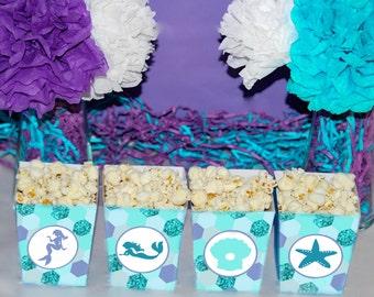 Mermaid popcorn box, Mermaid party birthday popcorn boxes, Under the sea party, Mermaid favors, Under the sea favors, Mermaid party decor