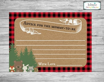 Advice for mommy to be cards, Woodland baby shower advice cards, baby shower game, advice for mom cards, lumberjack,  animal baby shower