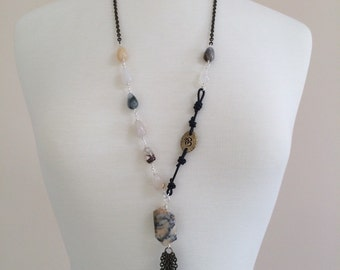 Boho Om Necklace, Agate, Black Leather, Antiqued Brass Chain