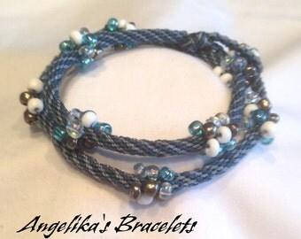 Double-wrap Kumihimo Braided Beaded Bracelet