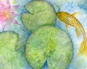 Oriental carp fish watercolor print LARGE, lotus flower koi fish pond art, gold fish illustration, feng shui home decor in blue green gold