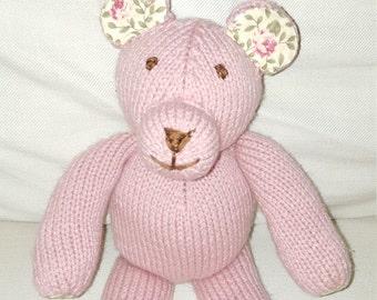 Handmade Knit Stuffed Teddy Bear with Floral Print