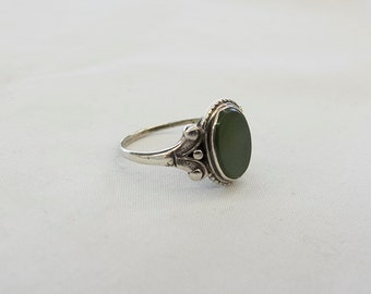 Vintage Jade and Silver Ring