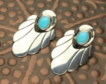 Turquoise Post Earrings, Dangle Earrings, Turquoise in Sterling Silver Door Knocker Earrings