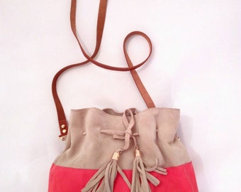 Beige & bright pink suede leather cross body summer bag