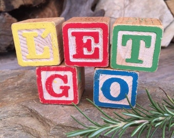 Vintage, Wood, Alphabet, Blocks, LET GO, Gift Set [Item # 0034]