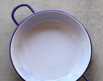 Vintage enamel grey pan with blue rim