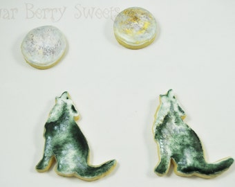 Howling Wolf - Sugar Cookies - 1/2 Dozen - Desert - Wild West - SouthWest - full moon  -cactus - extremely detailed and unique