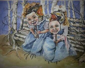 Fragility, original watercolor print, children, birds, masks ,fantasy, forest